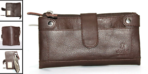 Women-Ladies-Real-Pure-Leather-Clutch-Purse-12-Card-Holder-Zip-and-Stud-Closure