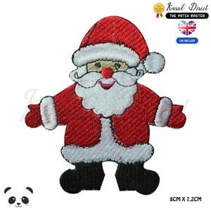Santa-Claus-Christmas-Embroidered-Iron-On-Sew-On-Patch-Badge-For-Clothes-etc