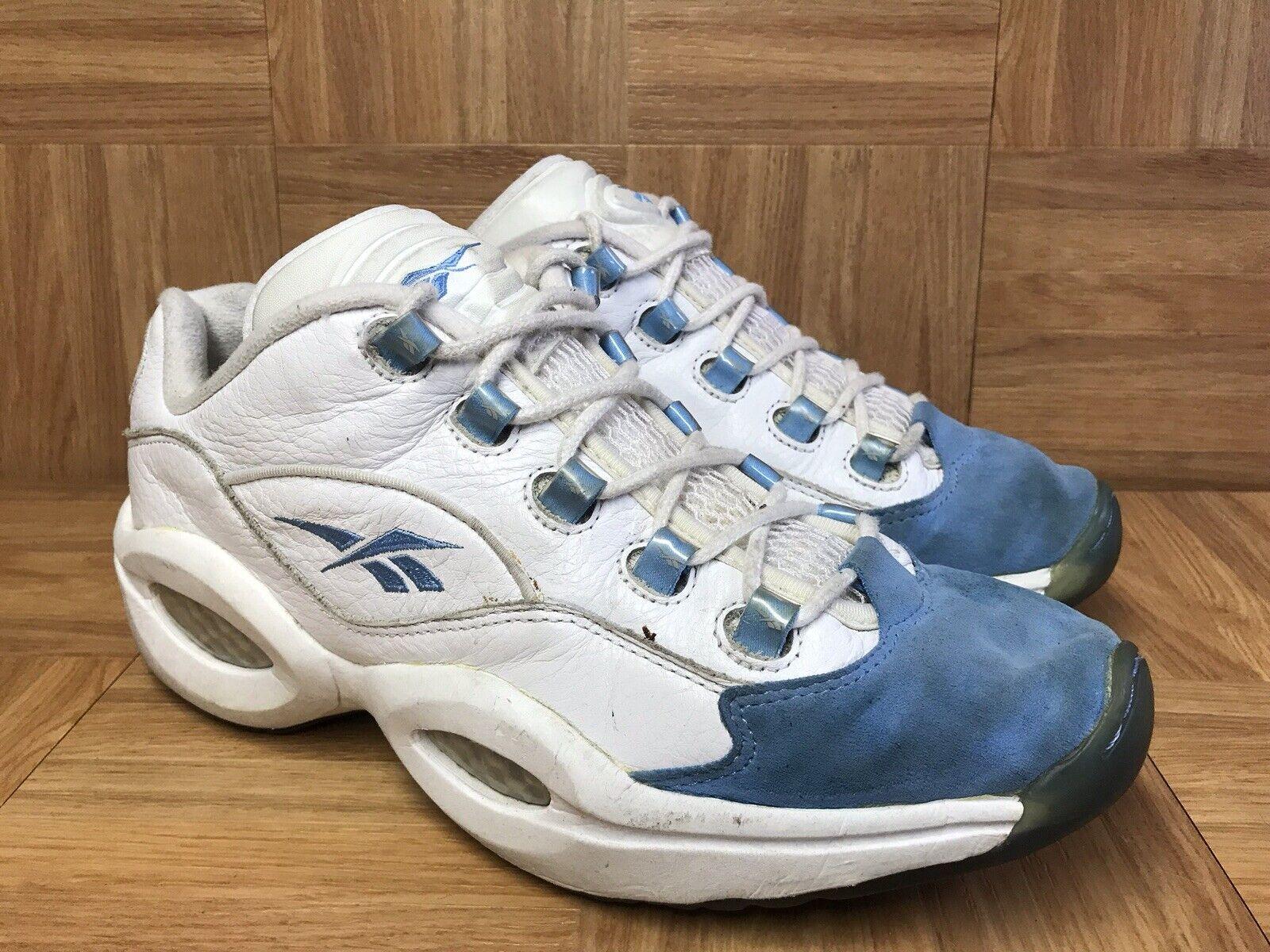 RARE Reebok Allen Iverson Low Carolina bluee White Sz 10 Men's Basketball shoes