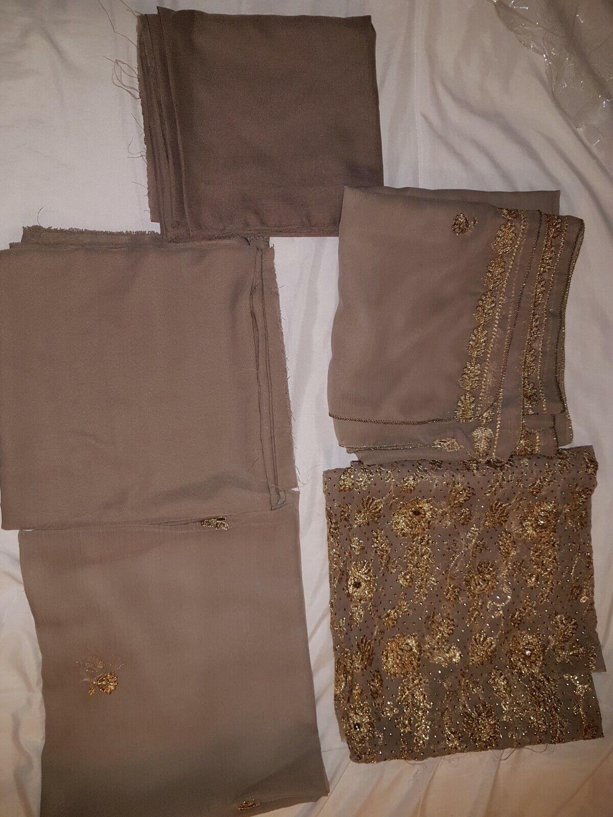 Mauve/brown Unstitched 5 Piece Salwar Kameez Suit