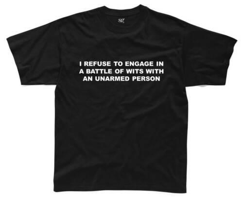 BATTLE OF WITS Mens T-Shirt S-3XL Black Funny Printed Slogan Joke Top