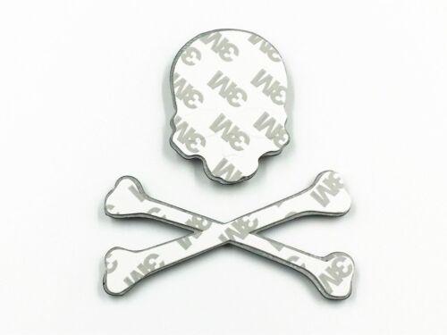 Black Crossbone Skull Metal Logo Emblem Badge Decal Tank Sticker Motorbike Car