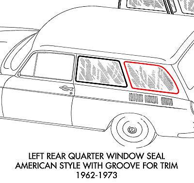 New VW Type 3 Squareback Front Quarter Window Seal Left 1962-1973
