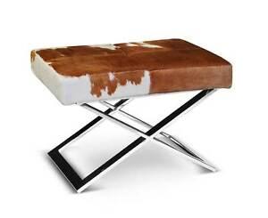 Chic-Bauhaus-Piel-de-vaca-Taburete-asiento-Fig-verdadero-marron-blanco