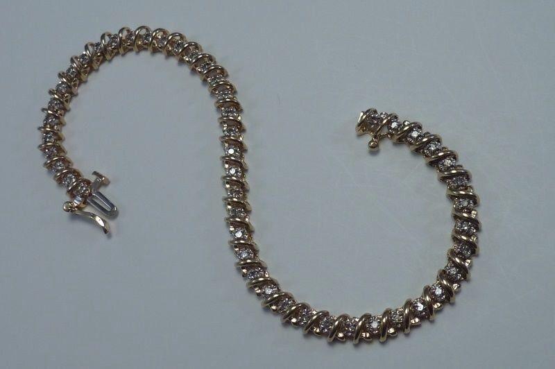 14K Yellow gold app. 1.50 ct. tw. Diamond Bracelet, 7.5 inch