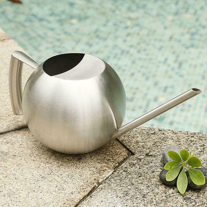 1L Stainless Steel Watering Can Pot Long Spout Kettle for Indoor Garden Plants