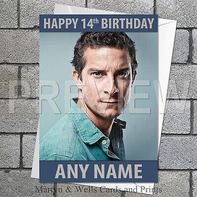 plus envelope. Bear Grylls birthday card 5x7 inches Personalised
