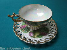 Fan Crest Japan lusterware reticulated cup/saucer attached,roses,gorgeous[a*5-b1