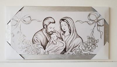Quadro Sacra Famiglia Moderno.Average Modern Framework Wooden Decoration Silver With Holy Family Bedside Ebay