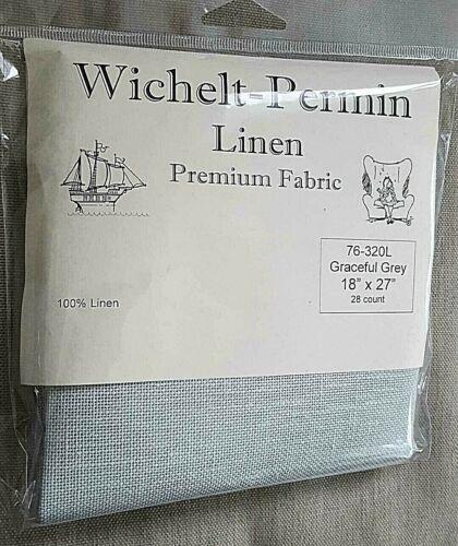Wichelt Permin PREMIUM LINEN FABRIC 28 Ct Cross Stitch 18 x 27 GRACEFUL GREY