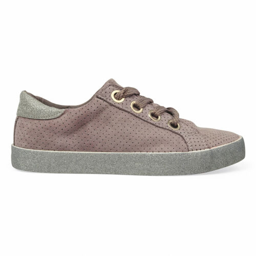 Women/'s Suede Lace Up Flat Trainer Sneakers Plimsoll Casual Shoe Glitter Design