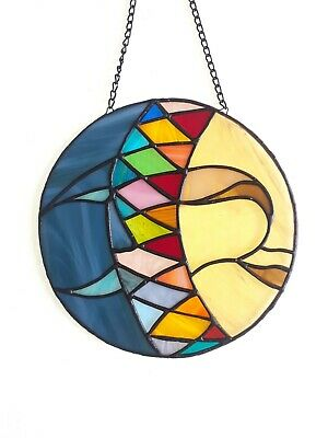 Stained Glass Bull Moon Sun Catcher