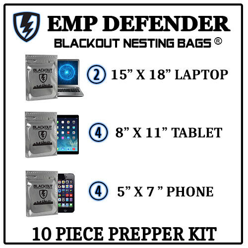 FARADAY CAGE EMP ESD BAGS 10 PC VARIETY SIZE PREPPER KIT BY EMP DEFENDER