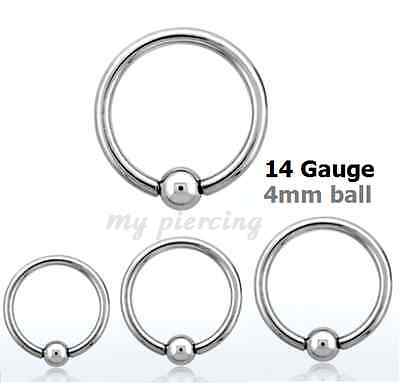 """2pc 14G~1//4/"""" 5//8/"""" 4mm Ball Steel Captive Bead Ring Helix Tragus Labret Earrings"""