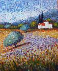 """Peinture de CARIN 41x33 cm """" herbes bleues et oliviers"""" Toile pointillisme"""