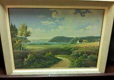 "E Birk signed Danish Landscape framed painting oil on canvas 31 X 23"""