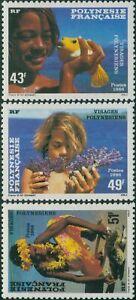 French-Polynesia-1986-Sc-430-432-SG473-475-Polynesian-Faces-set-MLH