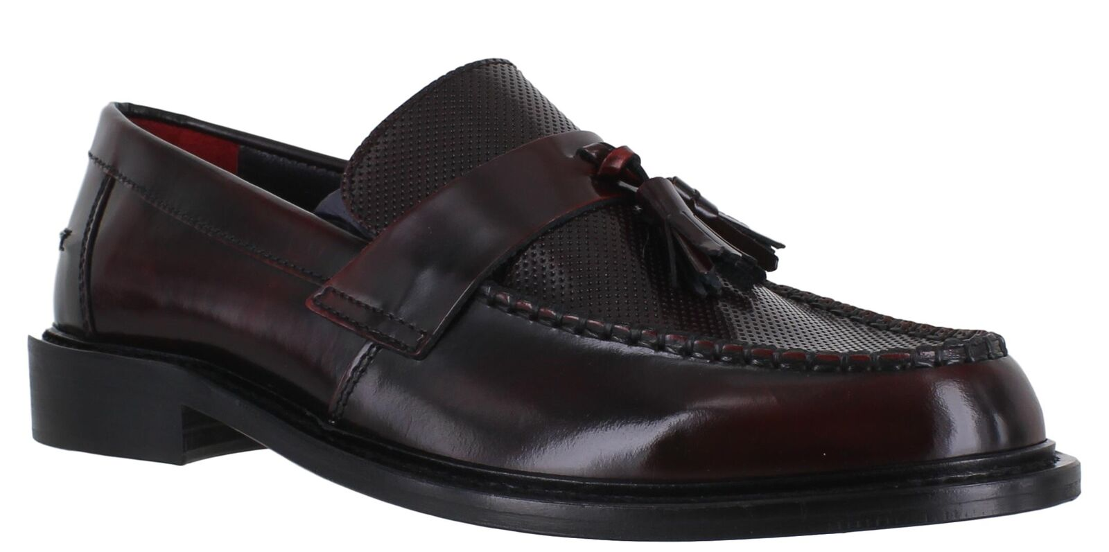 Delicious Junction Ace Punch Mens Mens Mens Bordo Leather Sole MOD SKA Tassel Loafers 241caf