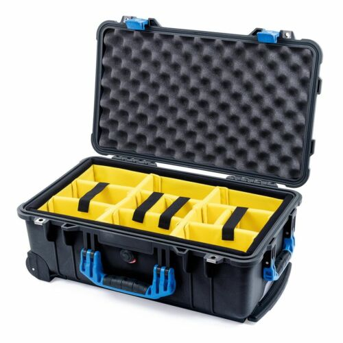 Black /& Blue Pelican 1510 case with Yellow padded dividers.