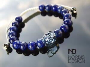 Men-039-s-Lapis-Lazuli-Skull-Bracelet-with-Swarovski-Crystal-6-9inch-Macrame-Healing