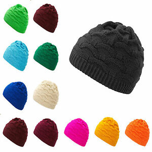 0ae06fc8b9b Mens Womens Cable Knitted Bobble Hat Plain Beanie Very Warm Winter ...