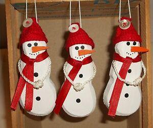 3 Wooden Snowman Christmas Tree Ornaments Handmade Snowman