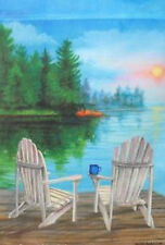 "Lake View Summer Garden Flag Adirondack Outdoors Sunset Reflection 12""x18"""