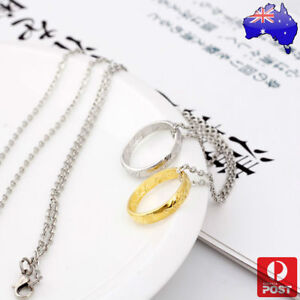 Hobbit Lord of the Rings Ring Gold Elvish Rune Engraving Pendant Necklace Chain
