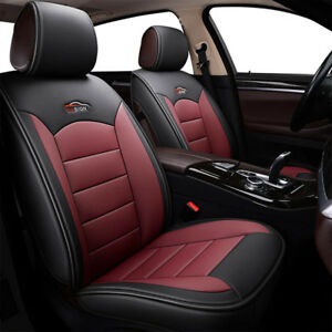 Image Is Loading Black Red Car 5 Seat Leather Covers