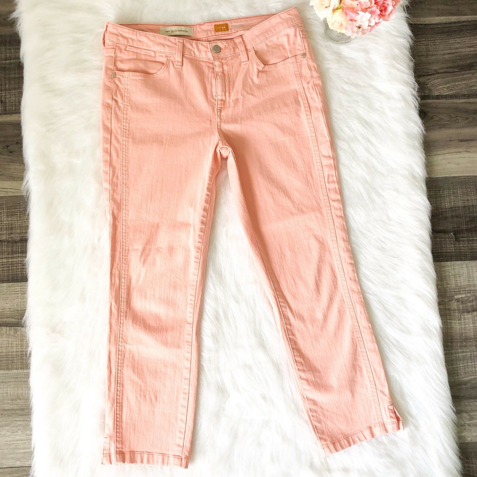 Anthropologie Womens Jeans Pilcro and the Letterpress Stet Peach Cropped Size 30