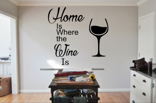 HOME IS WHERE THE WINE IS wall stick quote lettering vinyl wall stickers sticker
