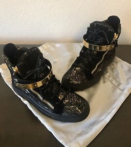 various design united states uk availability Details about GIUSEPPE ZANOTTI SHOES SNAKESKIN LONDON HIGH TOP SNEAKERS  SIZE 6 BLACK