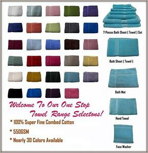 100-Cotton-Bath-Towel-Range-Single-Piece-s-or-7-Pieces-Set-Colors-Choice