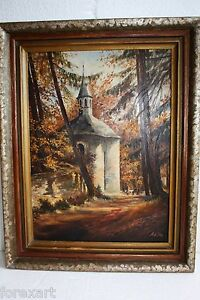 Old-Vintage-Original-Signed-Otto-European-Painting-Oil-on-Card-Board-Wood-Frame