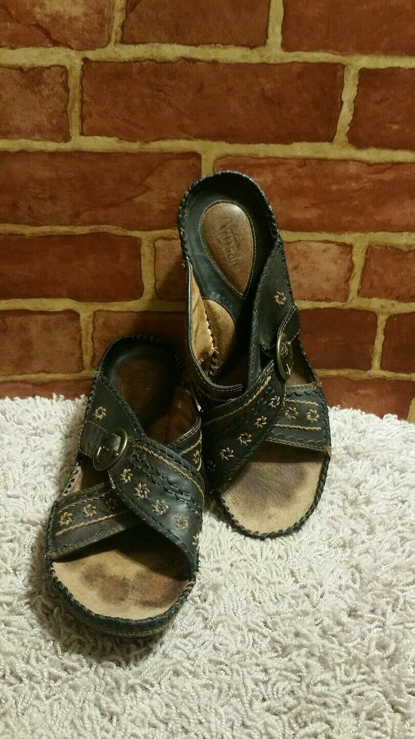 Clarks Artisan Collection Brown Leather Slide Sandals Womens Sz 9 Medium 1757