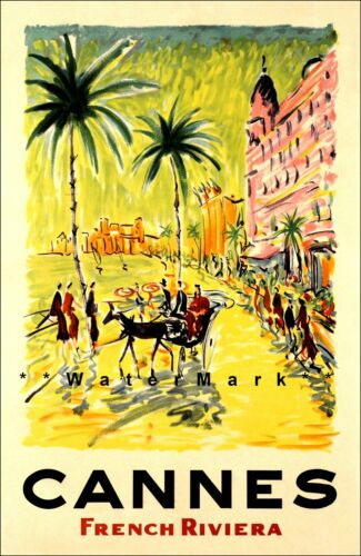 French Riviera Cannes France 1958 Vintage Poster Print Tourism Resort Decor Art