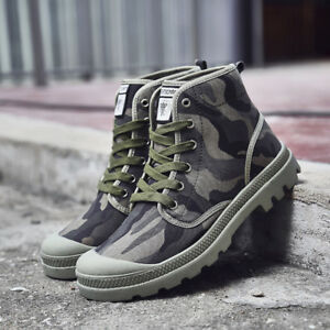 Men-039-s-Canvas-Shoes-High-Top-Sneakers-Hiking-Ankle-Boots-Trekking-Breathable-New