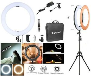 18'' LED Ring Light Camera Photo Phone Dimmable Lighting Live Bright Lamp 5500K