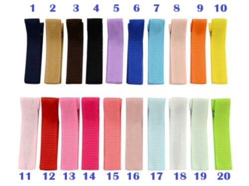 YOU CHOOSE 2 fully lined hair clip barrette grosgrain ribbon girl