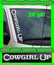 COWGIRL UP * VERTICAL Windshield Vinyl Side Decal Sticker * HORSESHOE Truck Car