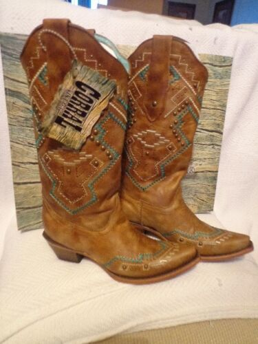 Corral Women/'s Studded Tan//Turquoise Ethnic Boots C2944-7,7.5,8,8.5,9,9.5,11
