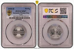 Weimar República 50 Peniques 1920 D PCGS MS67 51628