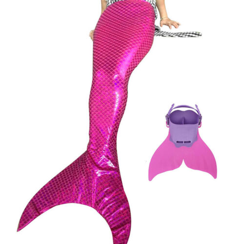 Children Rose Swimmable Mermaid Tail Monofin Costume Tails Cosplay Monofin real