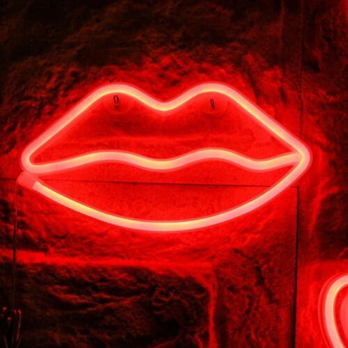 Indoor LED Neon Sign Night Lights Lips Lamp Wall Decor Light for Kids Room Xmas