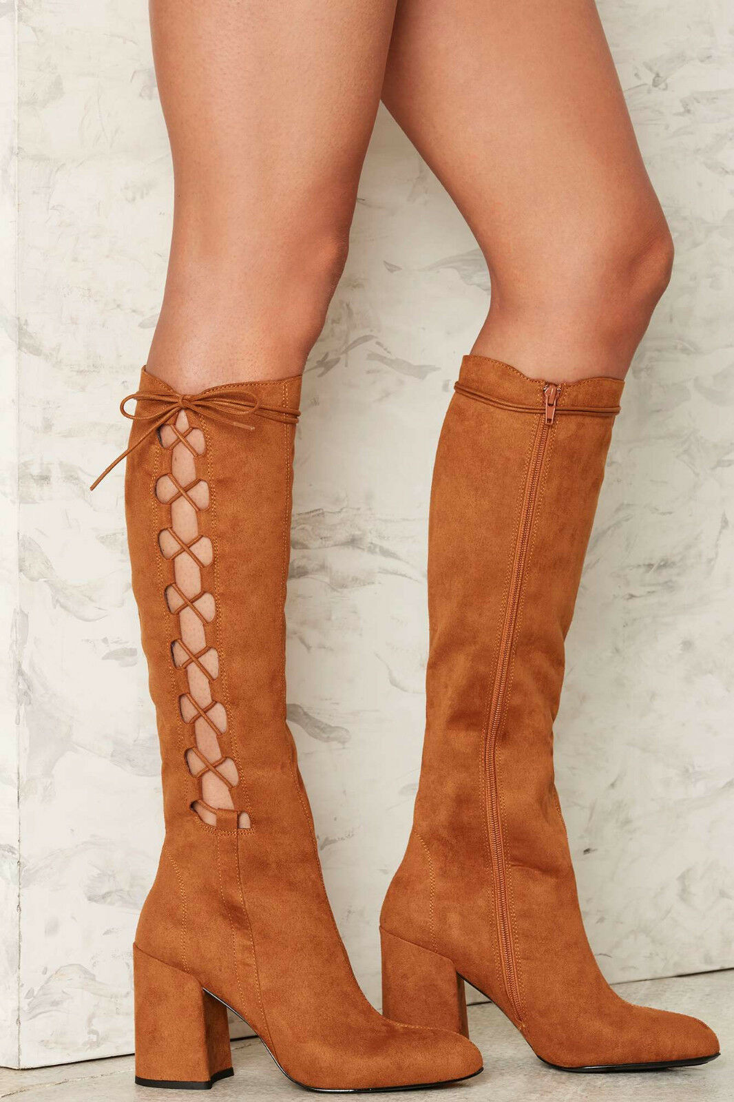 NEW NASTY GAL COGNAC SIDE STORY LACE UP BOOTS SHOES SZ 6