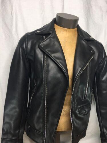 Men's Zara Black Faux Leather Biker Jacket - S
