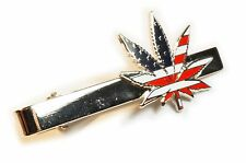 Marijuana 420 USA Flag Medical Weed Cannabis Suit Work Wedding Tie Bar Clip