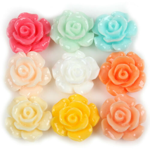 FREE SHIP 12pcs Resin Rose Flower Flat Back Cabochons 13mm Dia Colorful To Pick