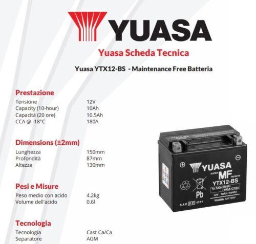 BATTERIA MOTO YUASA YTX12-BS 12V 10AH Kawasaki VN Vulcan Classic 900cc 2006/>2016