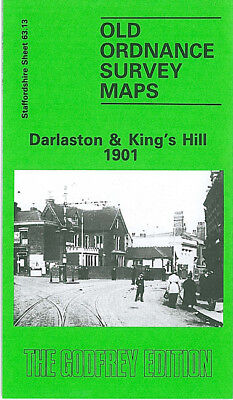 OLD ORDNANCE SURVEY MAP DARLASTON KINGS HILL 1901 OLD MOXLEY BUTCROFT WOODS BANK